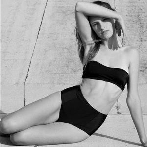 American Apparel Swim - Black Bandeau Bikini Top w Adjustable String Tie